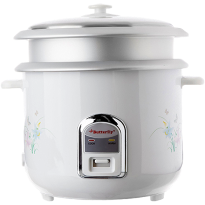Butterfly Cylindrical KRC- 22 Electric Rice Cooker (2.8 L, Cream and White)