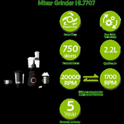 Picture of Philips HL7707 700 W Mixer Grinder (Black, 3 Jars)