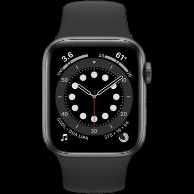 Apple Watch Series 6 GPS 44mm Space Gray Aluminium Case with Black Sport Band - Regular
