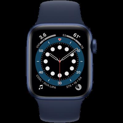 Apple Watch Series 6 GPS 44mm Blue Aluminium Case with Deep Navy Sport Band - Regular